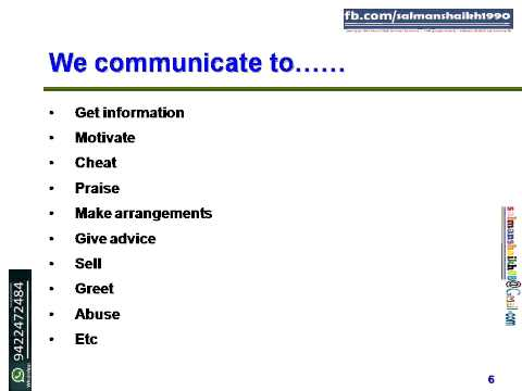 6 Reasons Of Communication Done