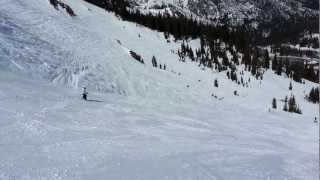 Kaitlyn Skiing Black Diamond runs at Alpine Meadows