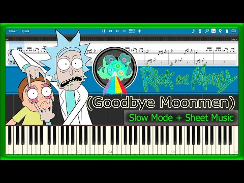 Goodbye Moonmen - Rick And Morty [Slow + Sheet Music] (Piano Tutorial)