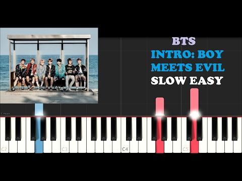 BTS - Intro : Boy Meets Evil (SLOW EASY PIANO TUTORIAL)