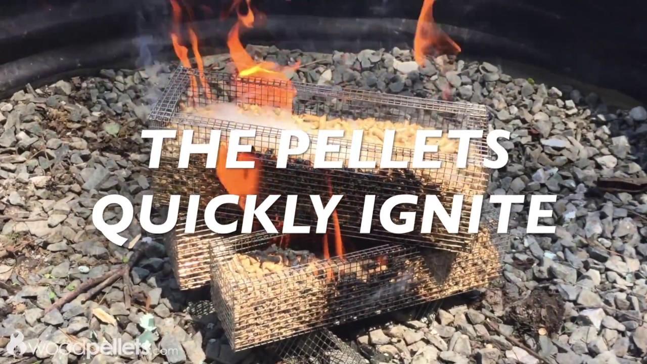 Wood Pellets in a Fire Pit - YouTube