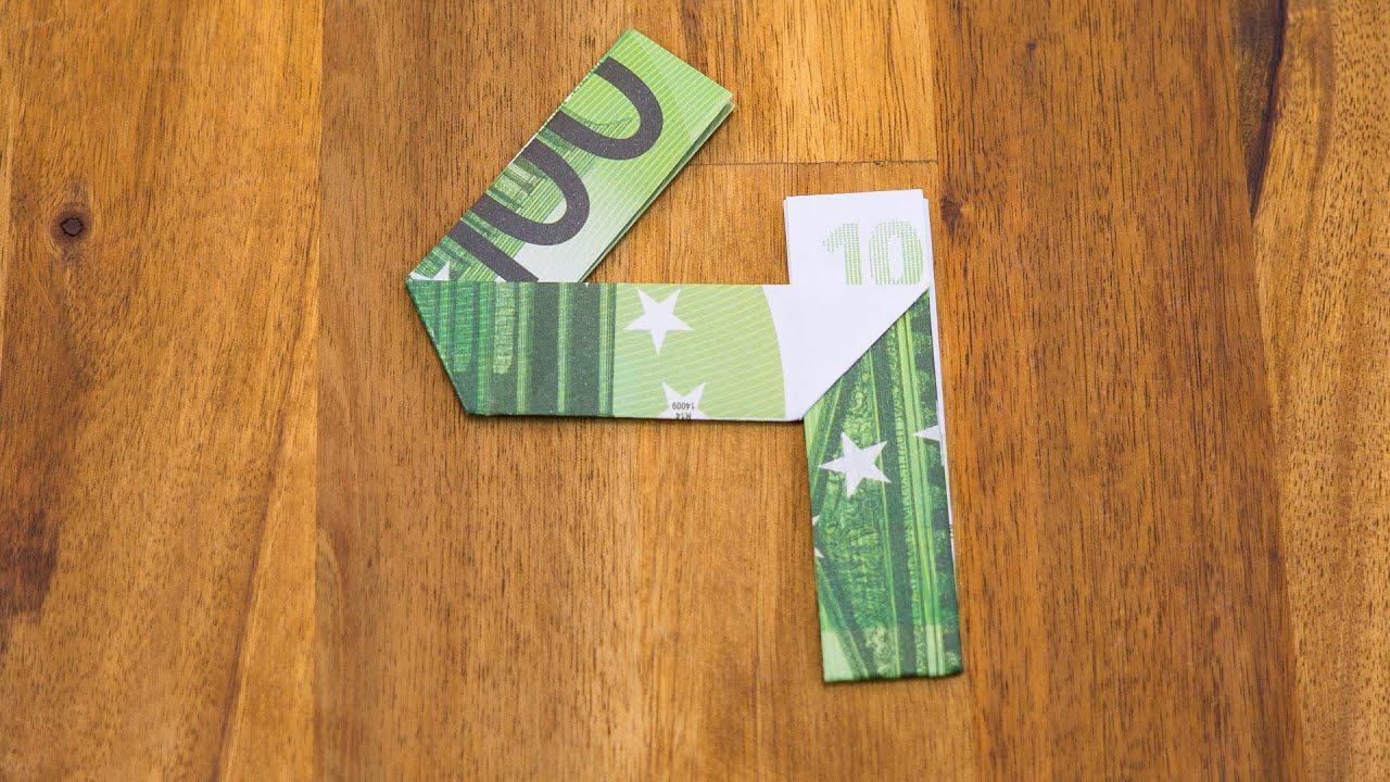 geldschein falten zahl 4 origami geldgeschenk tutorial. Black Bedroom Furniture Sets. Home Design Ideas