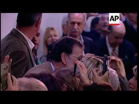 Spanish PM Rajoy arrives for key speech in Barcelona