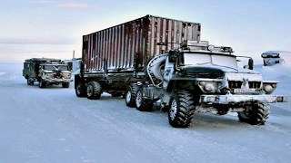 Truckers Of The North.   The roads of the far North Winter road.  Crazy Russians Peoples