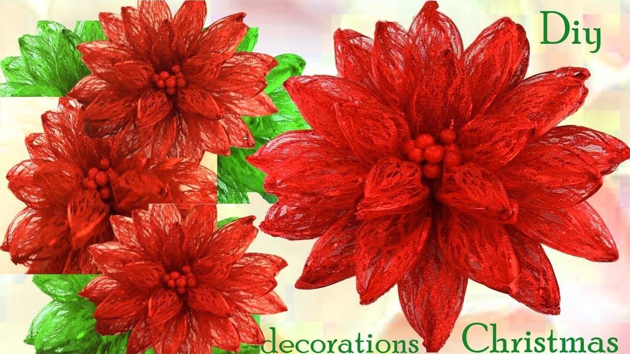 como hacer una flor nochebuena de navidad adornos