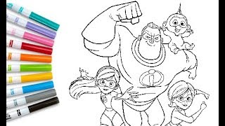 INCREDIBLES 2 Coloring Book Pages Coloring Mr Incredible Violet Elastigirl Flash Incredibles 2 Sheet