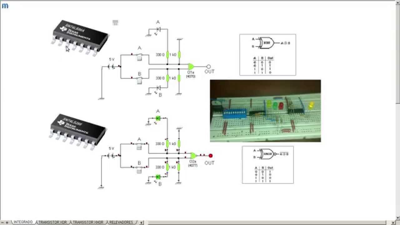 Circuito Xnor : Expo circuitos logicos xor y xnor youtube