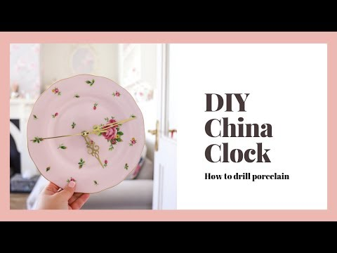How to drill through ceramic, DIY home decor, vintage china clock