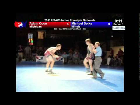 Junior Freestyle 3rd 215 - Adam Coon (MI) vs. Michael Sojka (IL)