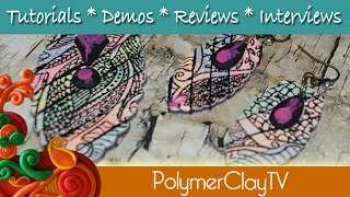 Gelliprint and silkscreened polymer clay Jewelry