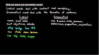 General Grammar Concept: Lexical & Grammatical Words