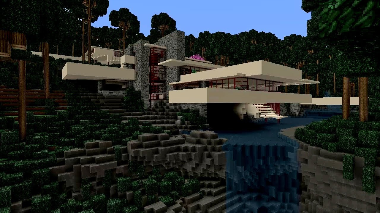 Minecraft - Falling Water House 2 (Frank Lloyd Wright ...