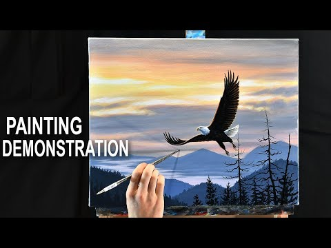 LANDSCAPE PAINTING DEMO | How to paint a sunset