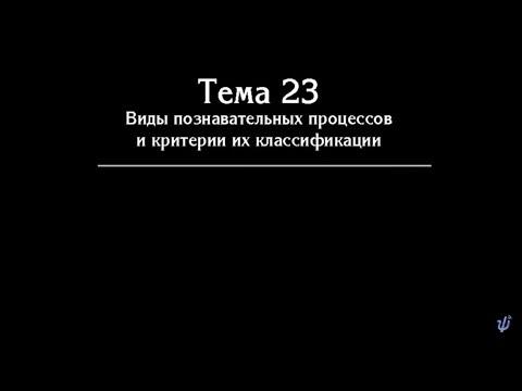 В. В.  Петухов.   Лекция № 33. Познавательные процессы.