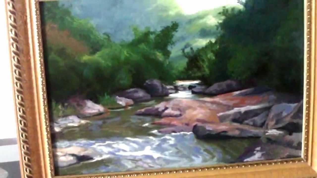 Paisagem com rio e mata pintura em leo sobre tela youtube - Como pintar sobre tela ...