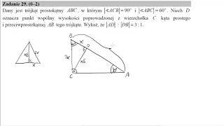 Matura sierpień 2017 zadanie 29 Dany jest trójkąt prostokątny ABC, w którym |∢ACB|=90∘ i |∢ABC|=60∘.