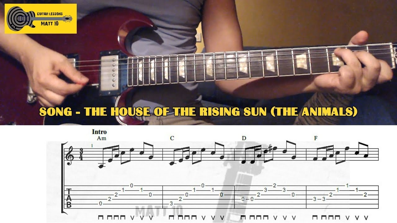 The House Of The Rising Sun The Animals Guitar Chords And Tab