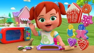 Little Baby Girl Fun Learning Making DIY Cookies Oven Toy Kitchen for Kids Children 3D Educational