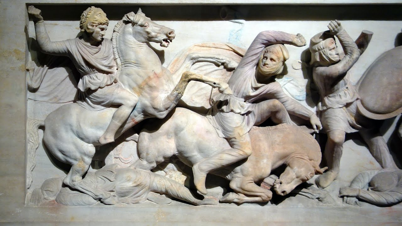 ancient sculptures colors. Alexander Sarcophagus, 4th century BC, Istanbul Archaeology Museum, Istanbul, Turkey.
