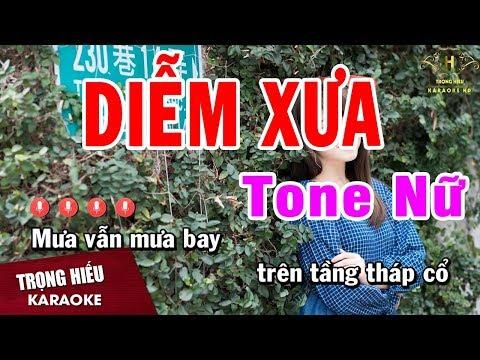 Karaoke Diễm Xưa Tone Nữ Nhạc Sống | Trọng Hiếu