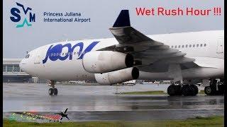 Epic Rainy Action !!! Joon A340, Delta 757, Jetblue A320, Copa 737, Liat ATR 72-600..@ St. Maarten