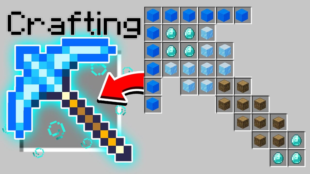 Minecraft : HOW TO CRAFT SECRET PICKAXES!  (Pocket Edition, PS4, Xbox, PC, Switch)