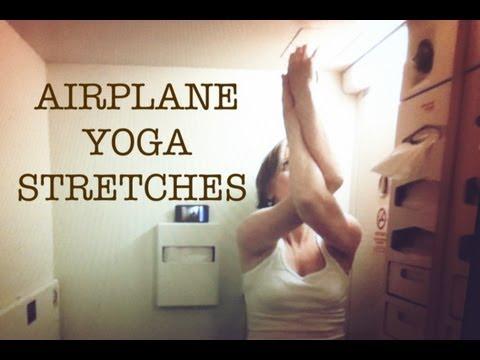 YOGA IN AN AIRPLANE BATHROOM   ENJOY YOUR FLIGHT