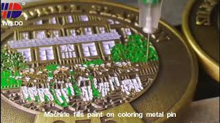 Machine fills paint on coloring metal pin Weldo Video 80