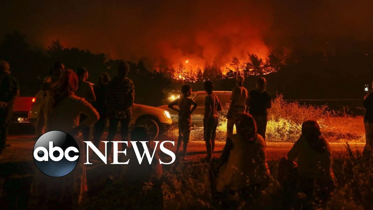 ABC News:Turkish wildfire, climbing championship, a sunflower blooms: World in Photos, Aug. 21