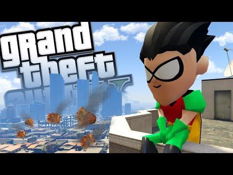 TEEN TITANS GO MOD w/ ROBIN & VILLAINS (GTA 5 PC Mods Gameplay)