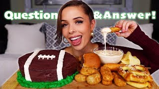 SUPER BOWL MUKBANG | appetizers, cheesy onion dip, and chocolate cake!