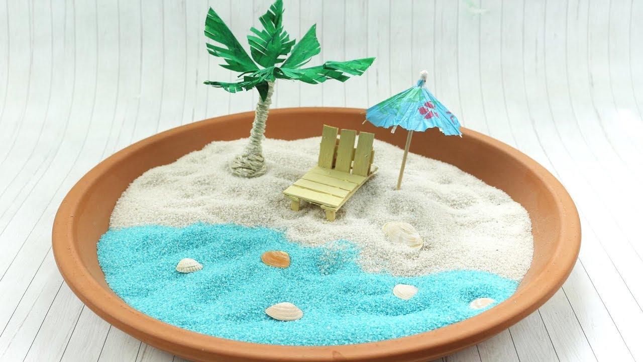 Miniatur Liegestuhl Basteln.Diy Miniaturstrand Selber Machen Schöne Deko Idee Im Sommer