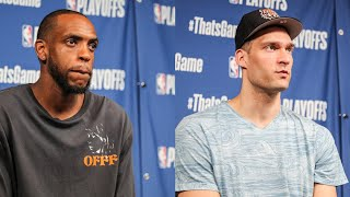Jrue Holiday, Khris Middleton and Brook Lopez Playoff Press Conference