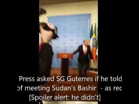 UN @AntonioGuterres met Sudan's Bashir. Inner City Press asked him if he told ICC in advance. No