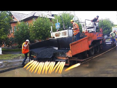 Amazing Modern Rail and Asphalt Road Construction Technology. Incredible Fastest Road Paving Machine