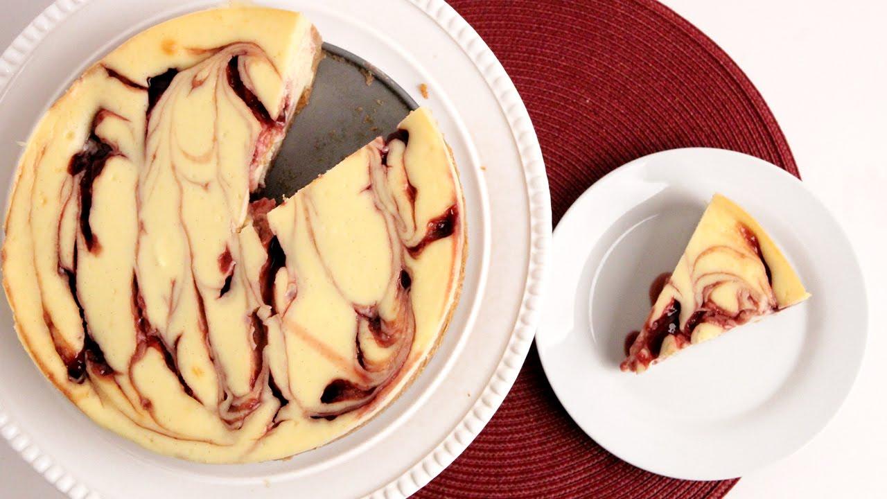 Homemade Raspberry Swirl Cheesecake Recipe - Laura Vitale - Laura ...