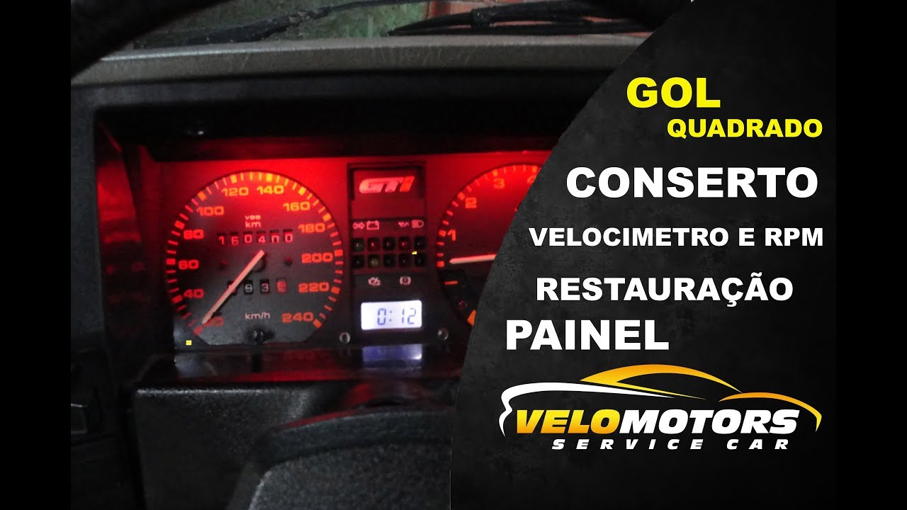 a2592a906aa Painel Gol quadrado chinês GTI GTS GLS SPORT RPM RELOGIO HORAS - YouTube