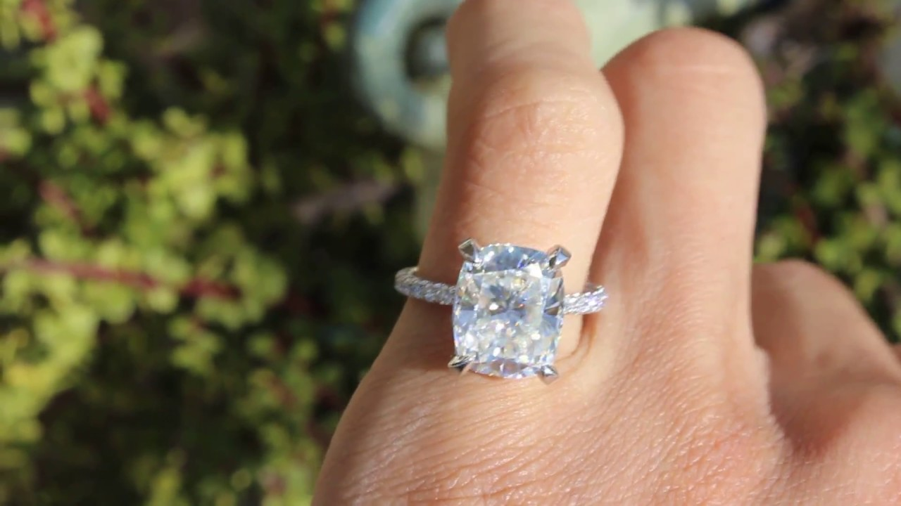 Elongated Cushion Moissanite Diamond Pave Engagement Ring Outdoor Lighting