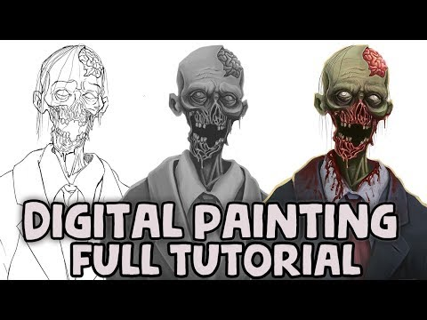 Digital Painting Tutorial - Sketch To Greyscale Values And Adding Colour