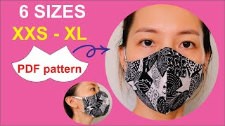 Breathable Face Mask 6 Sizes Of PDF Face Mask Pattern Printable Face Mask Pattern