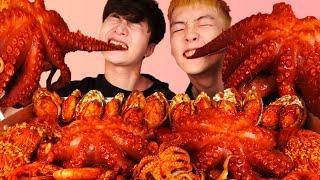 RUS SUB)Сплошная Осьминог Еда(совместно со мной,Best Friend)Mukbang🐙Korean ASMR 후니 Hoony Eatingsound