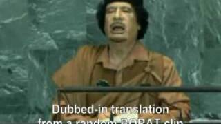Borat (spoof) translation of Gaddafi at the UN