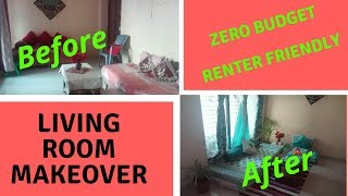 Zero Budget Living Room Makeover || Small Rented Apartment Living Room Makeover ||Indian Living Room