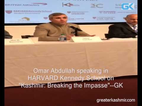 "Omar Abdullah speaking in HARVARD Kennedy School on ""Kashmir: Breaking the Impasse"""