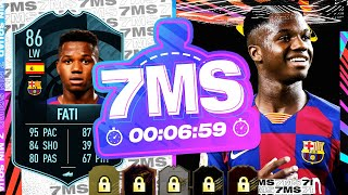 THE CARD YOU WILL REGRET NOT DOING! 86 POTM ANSU FATI 7 MINUTE SQUAD BUILDER - FIFA 21 ULTIMATE TEAM