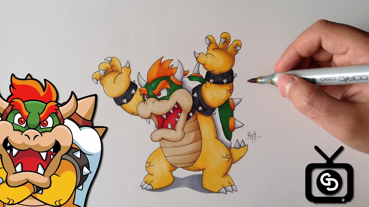 How To Draw Bowser Step By Step Super Mario