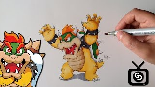 How to Draw Bowser (Step by Step ) - Super Mario