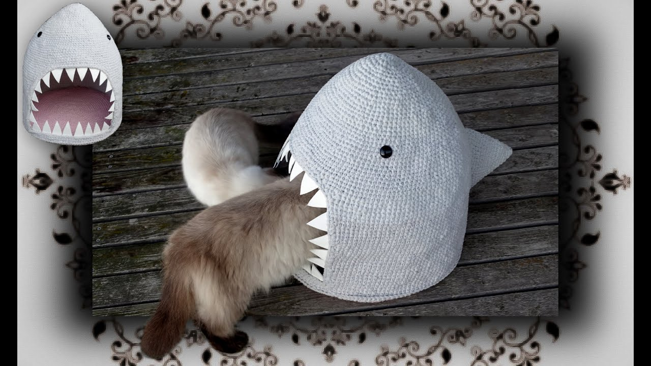 DIY 😻 Hai Häkel Höhle für Katzen | crochet shark for cats - YouTube
