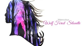 Galaxy Wolf Forest Silhouette Watercolour YouTube