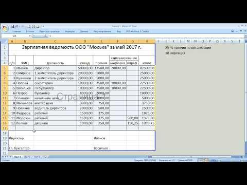 как ... сделать зарплатную ведомость в Excel